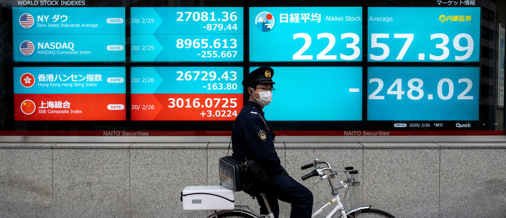 A police officer wearing a protective face mask, following an outbreak of the coronavirus, stands with his bike in front of a screen showing the Nikkei index outside a brokerage in Tokyo, Japan February 26, 2020. REUTERS/Athit Perawongmetha - RC248F9TNMBB