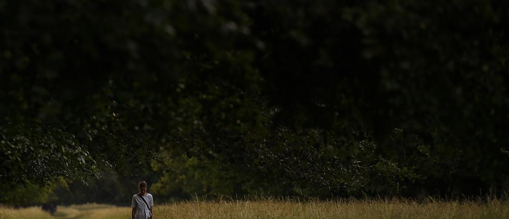 A woman walks through a wooded area during sunset in Dublin, Ireland June 27, 2018. REUTERS/Clodagh Kilcoyne - RC1803FF14D0
