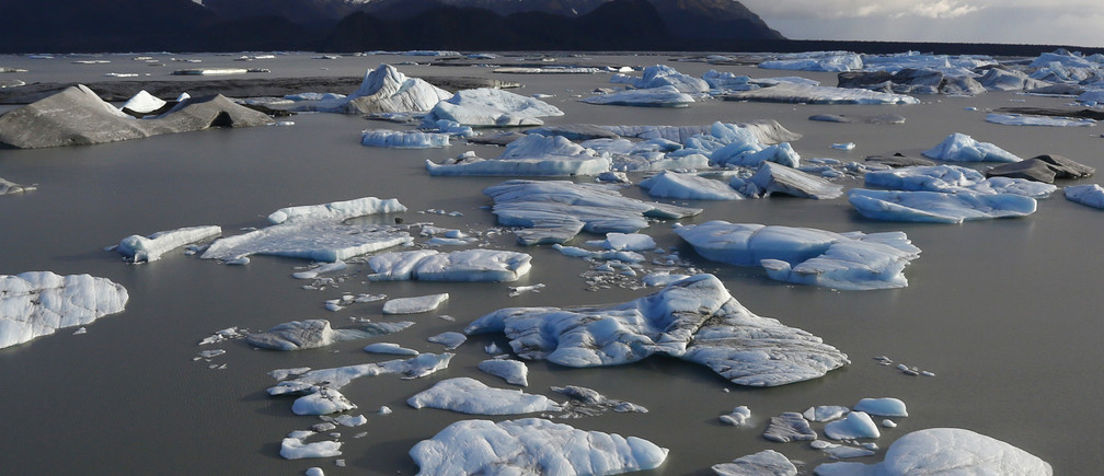 Icebergs are seen floating in Harlequin Lake near Yakutat, in southeastern Alaska October 7, 2014.