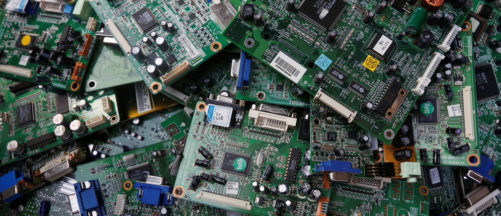 Circuit boards are seen after being dismantled from discarded computer monitors before being delivered to a recycling workshop in Karachi, Pakistan August 16, 2017. REUTERS/Akhtar Soomro - RTS1C1IZ