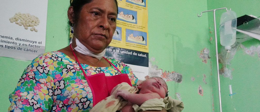 Midwife Juanita Zarate Solorza following a birth at a clinic in Union Hidalgo, Mexico.