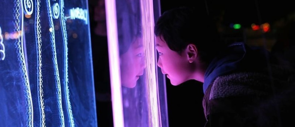 A boy rests his head on an installation titled 'Connections' during the Vivid Sydney festival of light and sound in Sydney, Australia, May 27, 2017. Picture taken May 27, 2017.    REUTERS/Steven Saphore - RTX37XTF