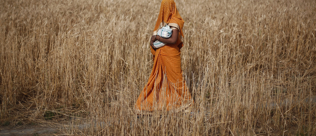 A woman carries her baby as she walks through a wheat field on her way to a polling station to cast her vote in Shabazpur Dor village, in Amroha district in the northern Indian state of Uttar Pradesh April 17, 2014. India kicked off the biggest day of its mammoth general election on Thursday, with a quarter of its 815 million voters set to head to the polls during a week of fresh blows for the ruling Congress party and gains for the Hindu nationalist opposition. REUTERS/Adnan Abidi  (INDIA - Tags: POLITICS ELECTIONS TPX IMAGES OF THE DAY) - GM1EA4H1NMW01