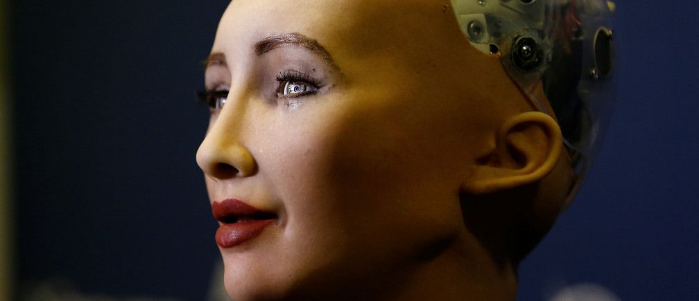 "Sophia, a robot integrating the latest technologies and artificial intelligence developed by Hanson Robotics is pictured during a presentation at the ""AI for Good"" Global Summit at the International Telecommunication Union (ITU) in Geneva, Switzerland June 7, 2017. REUTERS/Denis Balibouse - RC16B89A9020"