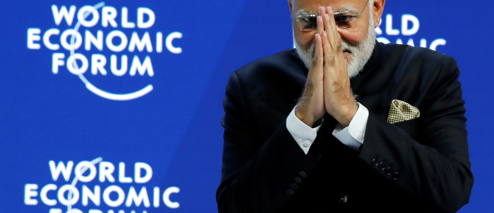 India's Prime Minister Narendra Modi gestures at the Opening Plenary during the World Economic Forum (WEF) annual meeting in Davos, Switzerland, January 23, 2018. REUTERS/Denis Balibouse     TPX IMAGES OF THE DAY - RC1BA3B1E8F0