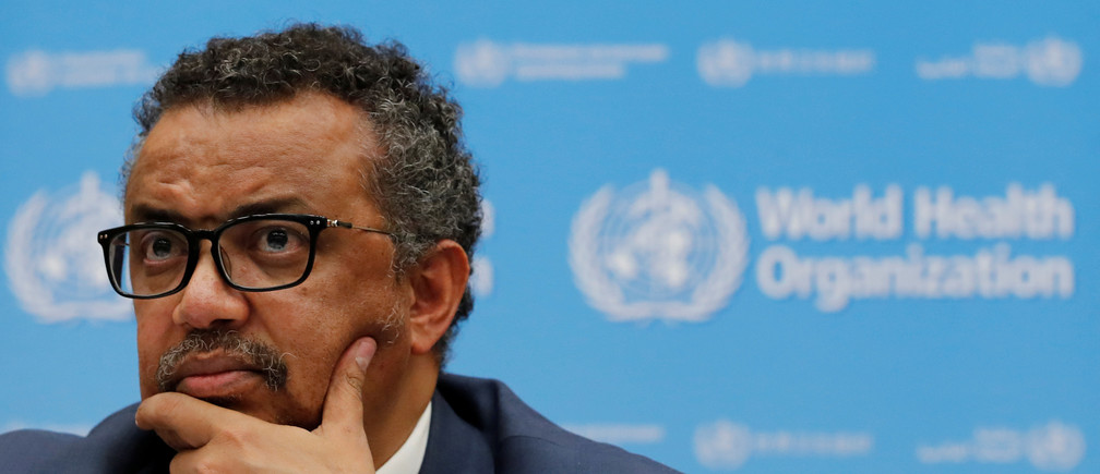Director-General of the World Health Organization (WHO) Tedros Adhanom Ghebreyesus attends a news conference at their headquarters in Geneva, Switzerland, May 14, 2018.  REUTERS/Denis Balibouse - RC13D1918080