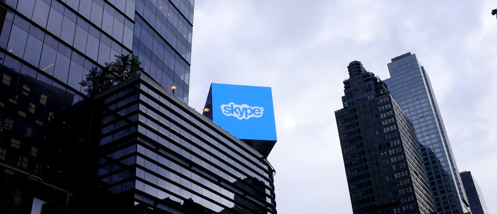 An advertisement for Skype over 42nd Street in Manhattan, New York.