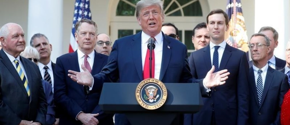 U.S. President Donald Trump delivers remarks on the United States-Mexico-Canada Agreement (USMCA) during a news conference in the Rose Garden of the White House in Washington, U.S., October 1, 2018.