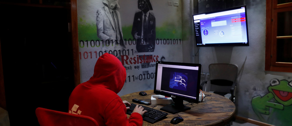 A man takes part in a training session at Cybergym, a cyber-warfare training facility backed by the Israel Electric Corporation, at their training center in Hadera, Israel  July 8, 2019