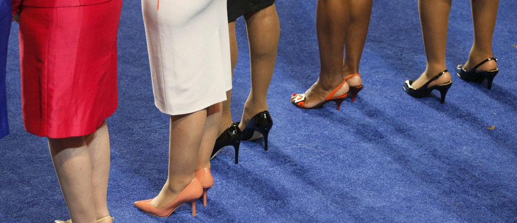 The legs of five women members of the U.S. House of Representatives are seen during the opening session of the 2012 Democratic National Convention in Charlotte, North Carolina September 4, 2012. REUTERS/Rick Wilking (UNITED STATES  - Tags: POLITICS ELECTIONS) - TB3E89500YBG2