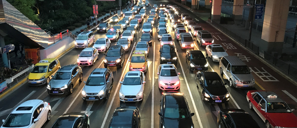 Traffic congestion in Shanghai, China