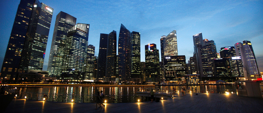 The Marina Bay central business district in Singapore.