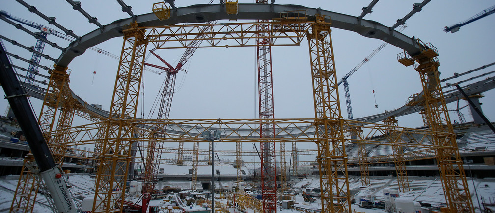 A general view shows the Yekaterinburg Arena stadium under construction, that will host 2018 FIFA World Cup matches, in Yekaterinburg, Russia, December 9, 2016. REUTERS/Maxim Shemetov - RTSVEDO