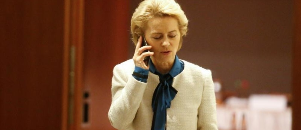 Ursula von der Leyen of the Christian Democratic Union (CDU) speaks on the phone during exploratory talks about forming a new coalition government in Berlin, Germany, November 19, 2017. REUTERS/Axel Schmidt - RC141343EE50