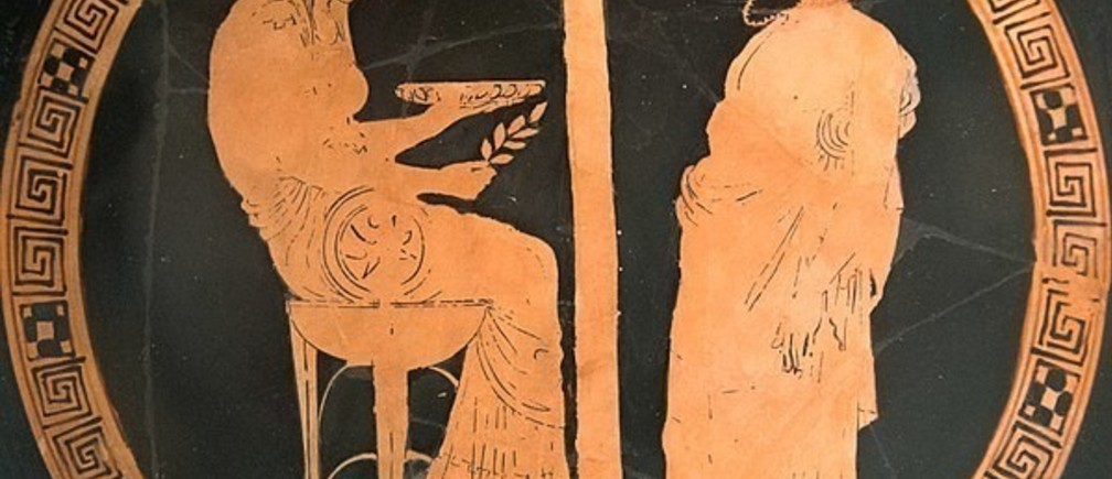 An Attic red-figure kylix from Vulci (Italy), 440-430 BC, depicting King Aigeus in front of the Pythia at the Oracle of Delphi