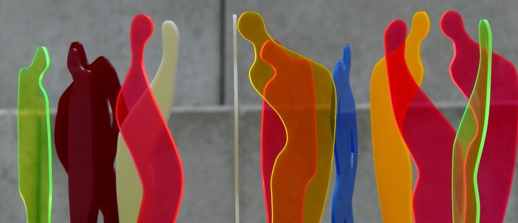 Fluorescent art work of people meeting