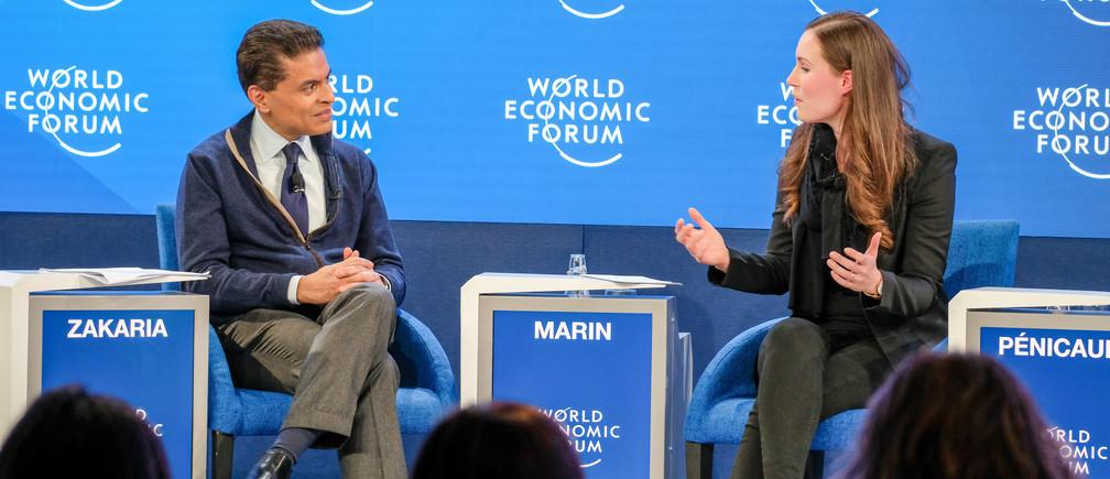 Sanna Marin, Primera Ministra de Finlandia, habla en la conferencia 'Getting to 50-50 Gender Parity' en Davos 2020.