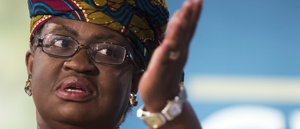 """Nigerian Finance Minister Ngozi Okonjo-Iweala takes part in a discussion on """"Challengers of Job-Rich and Inclusive Growth: Growth and Reform Challenges"""" during the World Bank/IMF Annual Meeting in Washington October 8, 2014."""