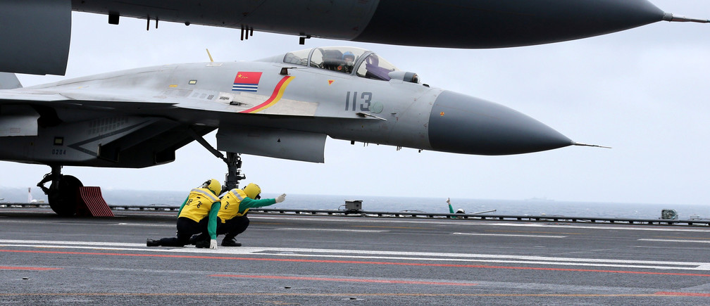 J-15 fighters from China's Liaoning aircraft carrier conduct a drill in an area of South China Sea, January 2, 2017. Picture taken January 2, 2017. REUTERS/Mo Xiaoliang