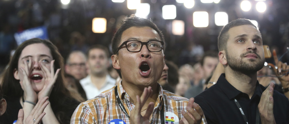 Supporters of Democratic U.S. presidential nominee Hillary Clinton react as they watch results at the election night rally in New York, U.S., November 8, 2016. REUTERS/Adrees Latif   - RTX2SO02