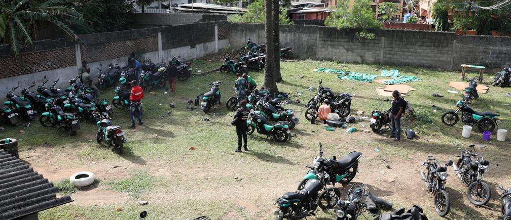 Bikes parked within the premises of Gokada bike company in Lagos, Nigeria