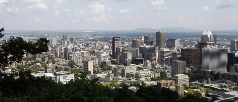 Image: A view of downtown Montreal from the Kondiaronk Belvedere mountain.
