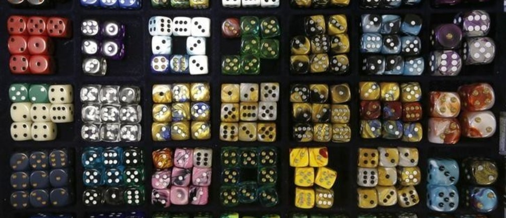 Sets of dice are seen on display during a board games festival in St. Petersburg, April 20, 2014. The festival was organised by vendors of board games to encourage young people to use and buy their products.   REUTERS/Alexander Demianchuk (RUSSIA - Tags: BUSINESS SOCIETY)