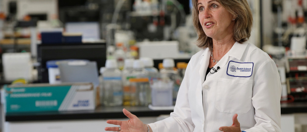 Protein Sciences Inc. President and CEO Manon Cox speaks during an interview with Reuters at a Protein Sciences Inc. research laboratory where they are working on developing a vaccine for the Zika virus based on production of recombinant variations of the E protein from the Zika virus at the Protein Sciences Inc. headquarters in Meriden, Connecticut, U.S.,  June 20, 2016. Picture taken June 20, 2016. REUTERS/Mike Segar - RTSQMJX