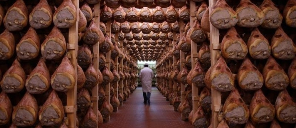 A worker checks in a special room where the Parma hams are hung to dry in Langhirano near Parma, October 13, 2009.