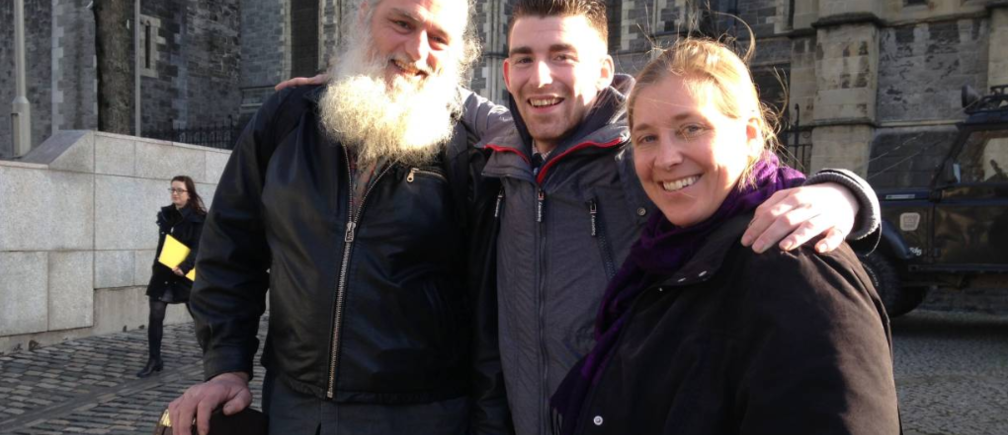 Patrick McEvoy, Eddie Dooner and Ronya Arya Phoenix, participants in a scheme run by My Streets Ireland which is training homeless people to become tour guides, are pictured in Dublin. Feb 21, 2019. THOMSON REUTERS FOUNDATION/Emma Batha