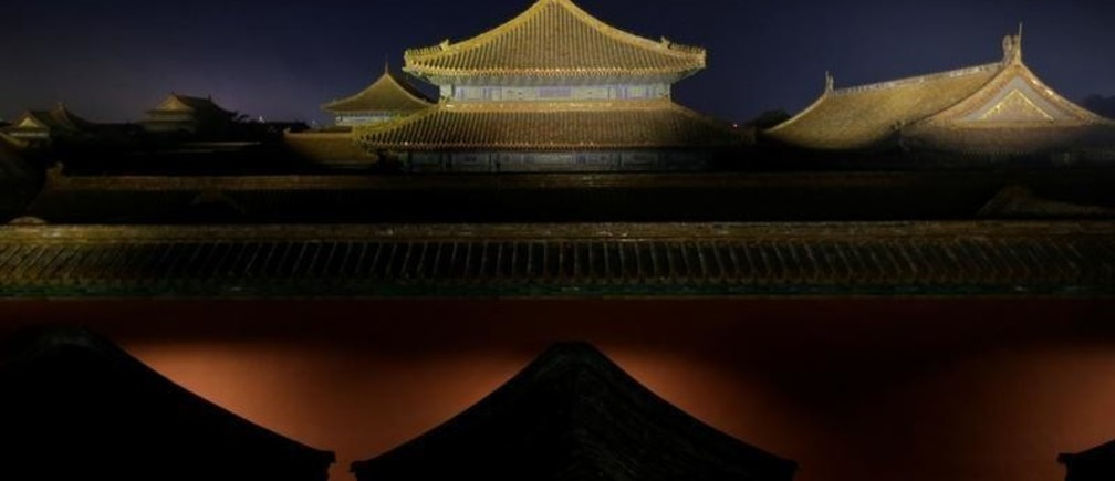 The Forbidden City is lit up during a light show to celebrate the Lantern Festival on the last day of the lunar new year celebrations in Beijing, China February 19, 2019. REUTERS/Jason Lee - RC19E6A52600
