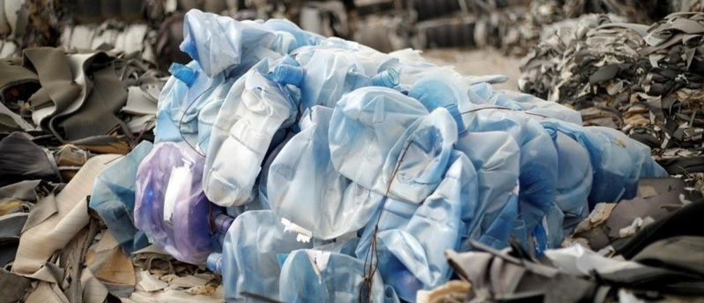 Discarded plastic jugs are seen at a recycling yard in Ciudad Juarez, Mexico November 22, 2018. Picture taken November 22, 2018. REUTERS/Jose Luis Gonzalez - RC1EEED010C0