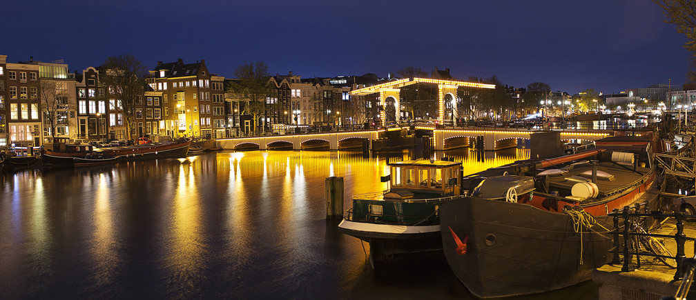 Nightview of the Magere Brug, the skinny bridge,the most famous bridge in Amsterdam April 22, 2013.
