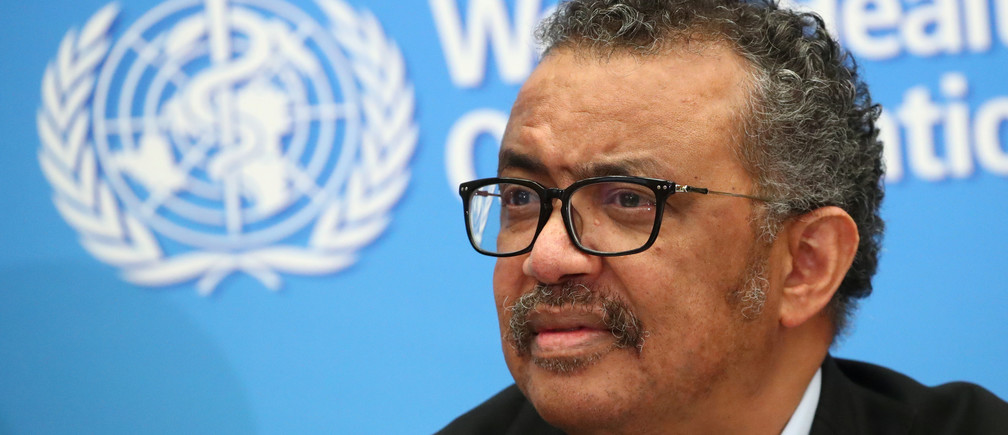Director-General of the WHO Tedros Adhanom Ghebreyesus, attends a news conference on the coronavirus (COVID-2019) in Geneva, Switzerland February 24, 2020.