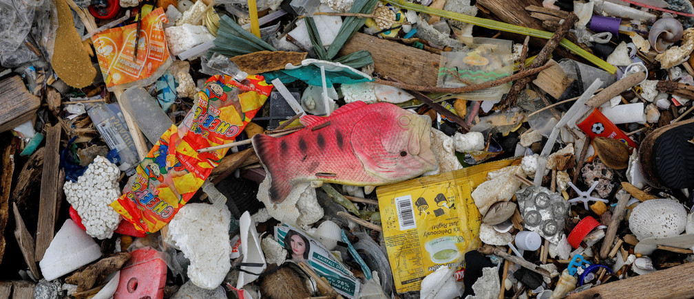 A plastic fish toy is pictured among sachets of various products on a trash-filled shore on Freedom Island, Paranaque City, Metro Manila, Philippines, July 15, 2019. Picture taken July 15, 2019. REUTERS/Eloisa Lopez - RC1AB9D42140