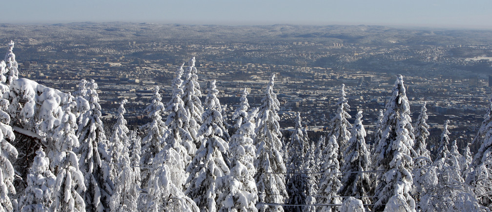 The city of Oslo is pictured in the distance on a winters day February 9, 2009. REUTERS/Lise Aaserud / SCANPIX (NORWAY) - RTXBGKH