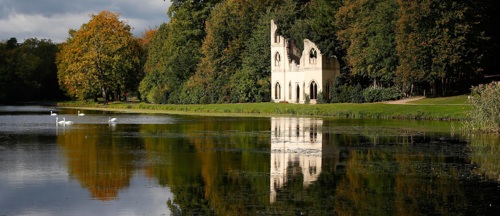Swans swim on a lake by a folly, at Painshill 18th century landscape garden in Cobham, Britain, October 14, 2015.   REUTERS/Peter Nicholls  TPX IMAGES OF THE DAY - LR2EBAE11FGLE