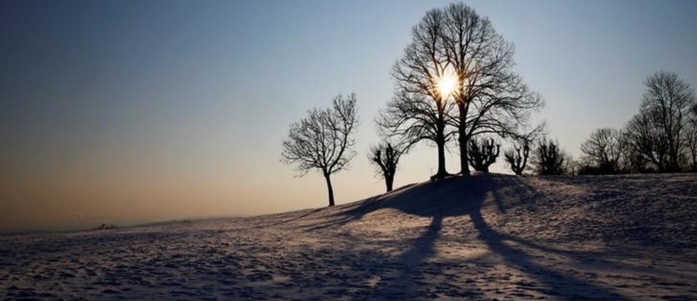 The sun is seen behind trees on a winter day on the hills around Vienna, Austria, February 28, 2018. REUTERS/Leonhard Foeger