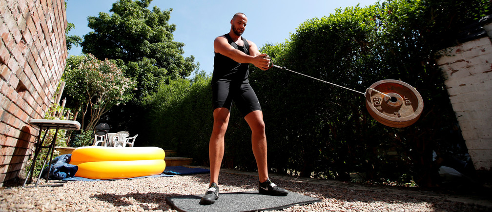 Athletics - Team GB hammer thrower Taylor Campbell during a training session at home in Loughborough, following the outbreak of the coronavirus disease (COVID-19), Loughborough, Britain, May 27, 2020. REUTERS/Peter Cziborra     TPX IMAGES OF THE DAY - RC23XG9TMLET