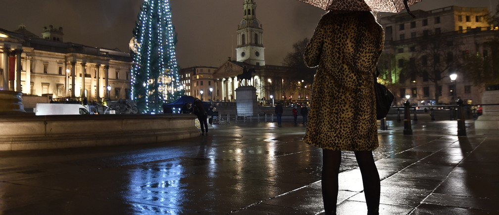 A woman photographs a Norwegian spruce Christmas tree from Oslo after it was lit at Trafalgar Square in central London, December 4, 2014. REUTERS/Toby Melville (BRITAIN - Tags: ENVIRONMENT TRAVEL TPX IMAGES OF THE DAY) - GM1EAC50C9601