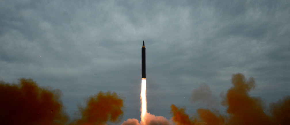 A missile is launched during a long and medium-range ballistic rocket launch drill in this undated photo released by North Korea's Korean Central News Agency (KCNA) in Pyongyang on August 30, 2017.  KCNA/via REUTERS  ATTENTION EDITORS - THIS IMAGE WAS PROVIDED BY A THIRD PARTY. REUTERS IS UNABLE TO INDEPENDENTLY VERIFY THIS IMAGE. SOUTH KOREA OUT. NO THIRD PARTY SALES. NOT FOR USE BY REUTERS THIRD PARTY DISTRIBUTORS. - RC187820E460