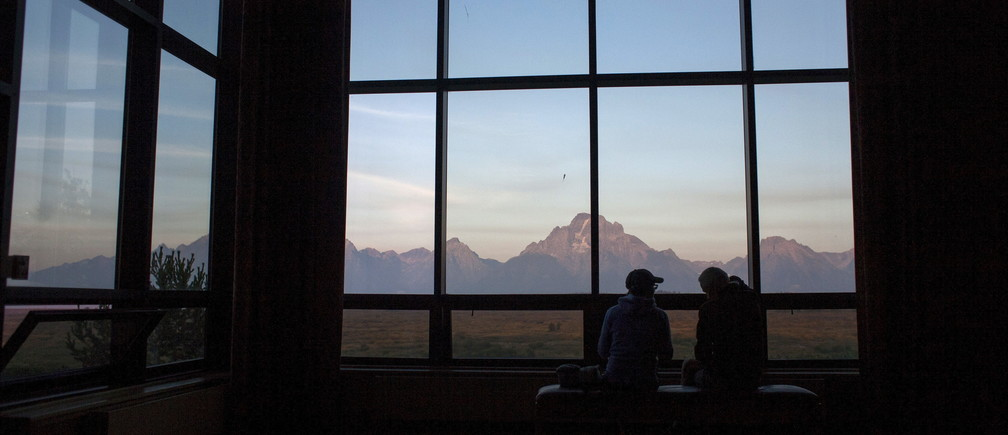 Sunrise over the Teton Range during the Federal Reserve Bank of Kansas City's annual Jackson Hole Economic Policy Symposium in Jackson Hole, Wyoming August 28, 2015