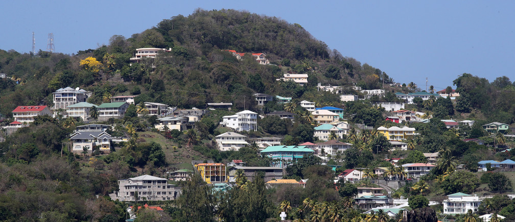 A general view of the coastline during Britain's Prince Charles' visit to a coastguard station during a visit to St. Vincent and the Grenadines, March 20, 2019. Chris Jackson/Pool via REUTERS - RC12A40B86C0
