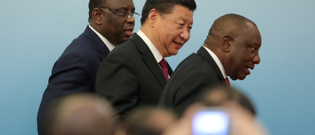 Chinese President Xi with South Africa's President Ramaphosa and Senegal's President Sall at the 2018 Beijing Summit of Forum on China-Africa Cooperation joint news conference at the Great Hall of the People in Beijing, China September 4, 2018. Lintao Zhang/Pool via REUTERS - RC1EB6503C80