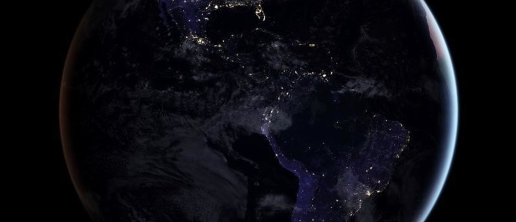 A composite image released by NASA on April 12, 2017 showing the full western hemisphere at night. This map of night lights is based on imagery from 2016.    NASA Earth Observatory image by Joshua Stevens, using Suomi NPP VIIRS data from Miguel Rom‡n ATTENTION EDITORS - THIS IMAGE WAS PROVIDED BY A THIRD PARTY - RC1229E36B10