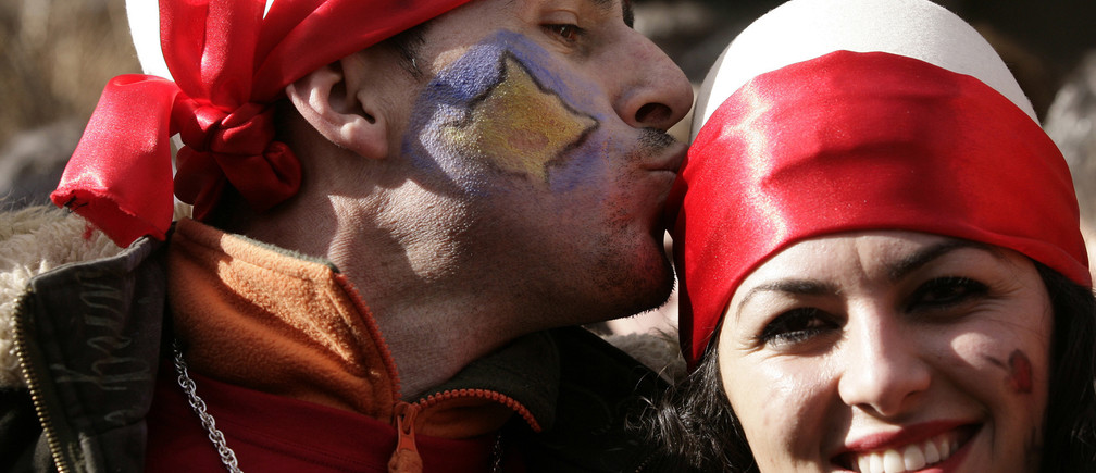 Kosovo's ethnic Albanians celebrate the first anniversary of independence in the capital Pristina February 17, 2009.