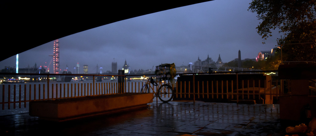"""Bedding and possessions belonging to Andrew, aged 31, lie at the spot where he lives under Waterloo Bridge in London, Britain, October 26, 2017. REUTERS/Mary Turner  SEARCH """"TURNER HOMELESS"""" FOR THIS STORY. SEARCH """"WIDER IMAGE"""" FOR ALL STORIES. - RC1612665860"""