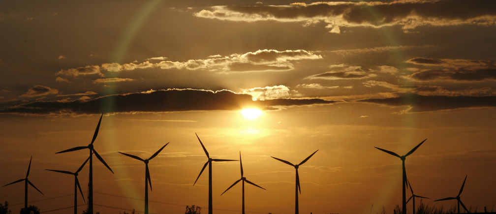 The sun sets behind power-generating windmill turbines from a wind farm near the eastern German town of Dessau July 27, 2007.