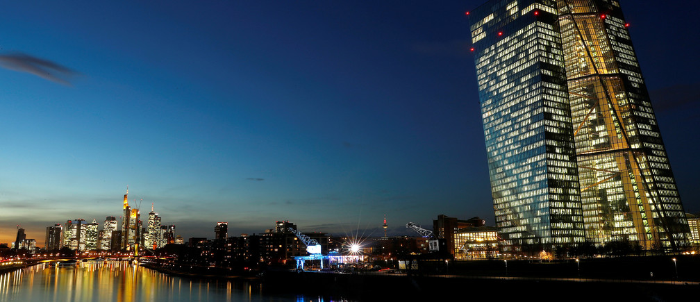 The skyline with its financial district and the headquarters of the European Central Bank (ECB) are photographed in the early evening in Frankfurt, Germany, December 4, 2018. REUTERS/Kai Pfaffenbach - RC1CCDEE9670