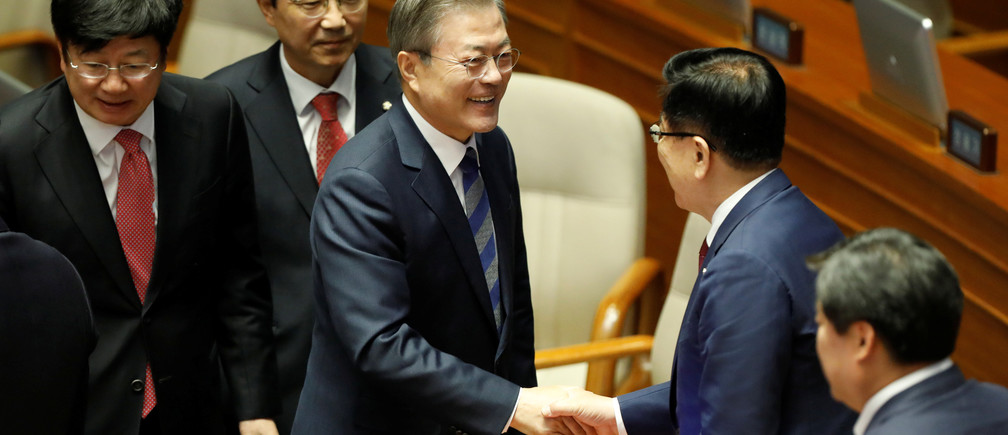South Korean President Moon Jae-in leaves after delivering his speech on the government's 2019 budget proposal during a plenary session at the National Assembly in Seoul, South Korea, November 1, 2018.   REUTERS/Kim Hong-Ji/Pool - RC18CF67D790